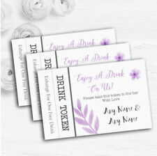 Watercolour Subtle Lilac Personalised Wedding Bar Free Drink Tokens