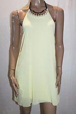 My Fashion Italy Designer Yellow Chiffon Beaded Halter Dress Size S BNWT #SZ22