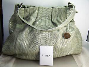 Authentic Furla Grey Beige Greige Leather Draw String Shoulder Bag  Excellent!