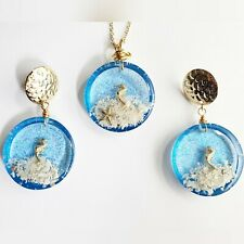 Set Necklace Earrings Handmade Resin Clear Ocean Blue Goldfilled Mini Seahorses