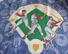 MLB Baseball Twin Flat Bed Sheet 1991 Bright Colors Players Logos Vintage