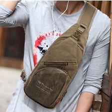 Men Canvas With Leather Cross Body Messenger Shoulder Back Pack Sling Chest Bag