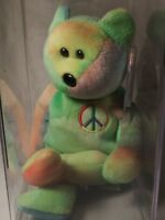 Ty Beanie Babies Rare Retired Peace Bear Origiinal/Stamped Suface Wash Rare🔥