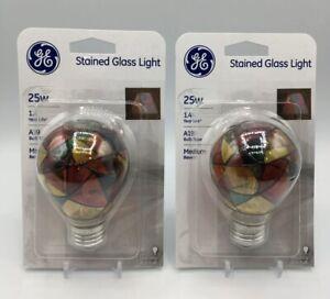 (2) GE Incandescent Stained Glass Light Bulbs A19 Bulbs 25-Watt TIKTOK Viral New