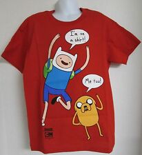 Adventure Time I'm on a shirt NEW NWOT Youth Medium Red Graphic Tee Finn Jake