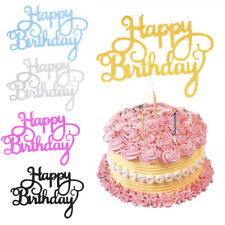 10 pcs Glitter Paper Happy Birthday Cake Topper Cupcake Dessert Decor Supplies