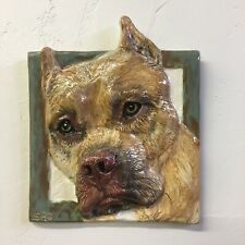 American Staffordshire Terrier Pit Bull Dog Ceramic Portrait 3D Tile In Stock