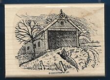 COVERED BRIDGE FALL PHEASANT LANDSCAPE Country Scene Stampin' Up! RUBBER STAMP