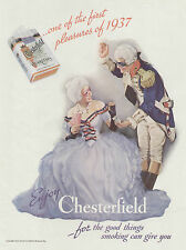 Tobacco Chesterfield Cigarettes Colonial Costumes 1937 Vintage WHC Magazine Ad