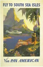 Vintage Pan Am Flights to South Pacific Islands Poster A3 Reprint