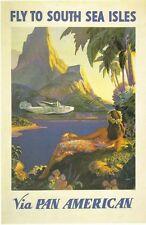 Vintage PAN AM vols vers les îles du Pacifique Sud Poster A3 réimpression