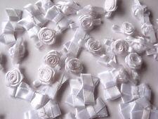 25 SATIN WHITE BOWS 20MM & 25 MEDIUM SIZED WHITE RIBBON ROSES 12MM WIDE