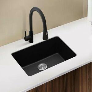 ARTE STONE 635x470mm Premium Black Quartz Granite Single Kitchen/Laundry Sink