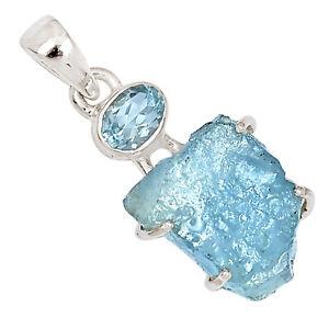 Aquamarine Rough & Blue Topaz 925 Sterling Silver Pendant Jewelry ALLP-2509