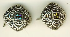 "925 Sterling Silver Marcasite Large Square Stud Earrings  5/8"" diameter"