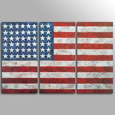 No Frame Decor Canvas  3 Panels Canvas Wall Art   American Flag Canvas Prints