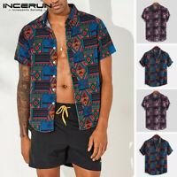 Mens Hawaiian Short Sleeve Shirt Summer Casual Beach Party Slim Fit Tops Blouse