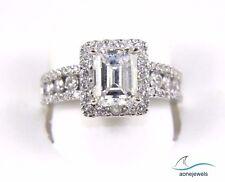 Wedding Band 14K White Gold Over 1.60 Ct Emerald D/Vvs1 Diamond Engagement Ring