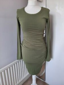 ISABELLA OLIVER Fits UK 8-10 Olive Green Long Sleeved Pencil Maternity Dress