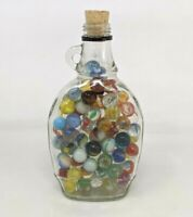 Vintage Lot of 88 Assorted Marbles in Glass Bottle Jar Agate Ribbon Swirls FP20
