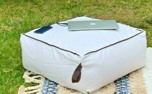 Large Square 65cm Ottoman Pouf Footstool Coffee Table Beanbag Floor Cushion