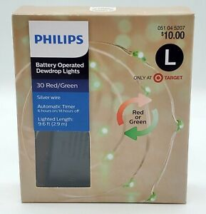 Philips Battery Operated LED Dewdrop String Lights Red and Green 30 Count