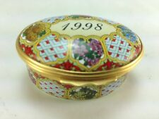 Lovely Halcyon Days Enamels A Year To Remember 1998 Oval Trinket Box