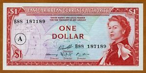 Eastern East Caribbean, $1 ND (1965) P-13h, Antigua, Young QEII, UNC