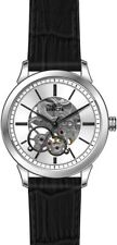 New Mens Invicta 18118 Skeletonized Dial Mechanical Black Leather 32mm Watch