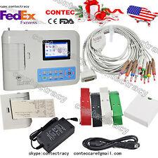 USA ship 3 Channels ECG/EKG Machine with Printer and Paper USB Software ECG300G