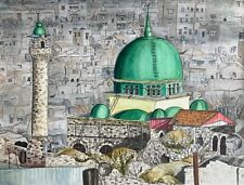 Signed Original Al-Nasr Mosque Ink and Watercolour by Mollie Turner