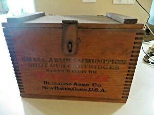 WINCHESTER 12 GA 500 REPEATER 2 5/8 ,DOVE TAIL WOOD SHOTGUN AMMO CRATE  BOX& LID