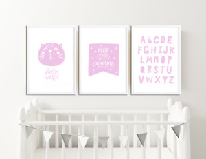 Girls Pink Nursery Prints / Baby Room Decor / Pictures for Childrens Bedroom