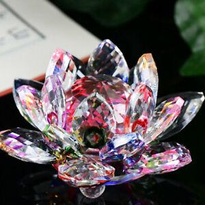 Crystal Glass Lotus Flower Candle Holder Candlestick Home Decor Craft Tea Light