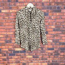 Equipment Femme Womens Leopard Cheetah Print Silk Long Sleeve Blouse Small