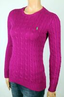 Ralph Lauren Magenta Cable Knit Crewneck Sweater Green Pony NWT