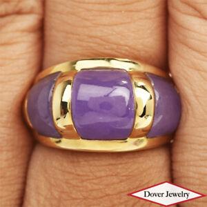 Estate Lavender Jade 14K Gold Lovely Three Stone Ring 6.2 Grams NR