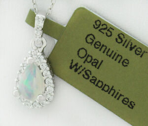 GENUINE OPAL & WHITE SAPPHIRE NECKLACE .925 Sterling Silver  * NEW WITH TAG *