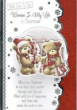 To The WOMAN IN MY LIFE  Quality Large CHRISTMAS CARD Cute Bears 3-Fold Design