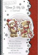 Para la mujer de mi vida Calidad grandes osos de tarjeta de Navidad Lindo Diseño De 3 veces