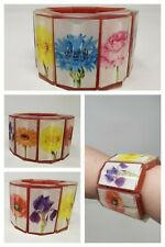 Chunky Stretch Bracelet Bangle Floral Perspex Bold Bright Quirky Statement Iris