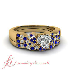Heart Shaped Diamond And Sapphire Gemstone Infinity Twist Wedding Set 0.90 Ctw