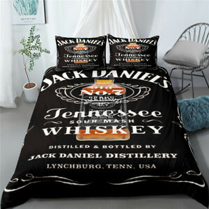 Quilt Duvet Cover Set Jack Daniel`s Double Single King Super King Size Bed Black
