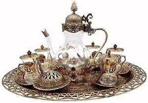 Traditional Ottoman Style Turkish Tea Set for 6 (Antique Gold)