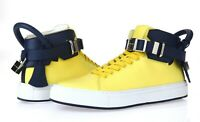 BUSCEMI 100MM NEOPRENE Yellow Navy Blue Leather High Tops Flat Shoes Size 42