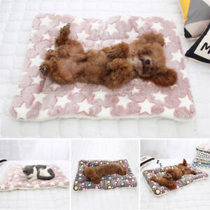 Pet Mat Paw Print Cat Dog Puppy Fleece Mat Blanket Bed Cushion Mattress Warm Pad