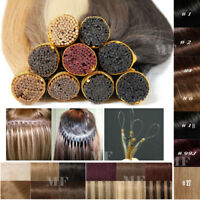 """Russian Stick I Tip Real Remy Human Hair Extensions Pre Bonded Micro Ring 20"""" MF"""