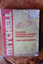 Vintage 1986 SUPPLEMENT Mitchell CHASSIS SERVICE & REPAIR DOMESTIC CARS paperbk
