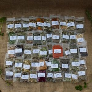 Set 50 Herb Sachets Witch Wicca Pagan Altar Kit