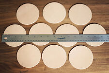 10 Plain Leather Coasters Vegetable Tanned thick round Cowhide Crafts 3.5 circle